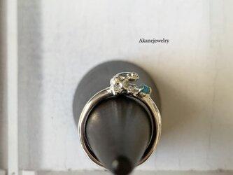 12月のカエル ターコイズと小さなカエルの指輪の画像