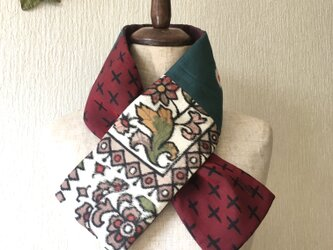 銘仙×コットン刺繍の小さな襟巻き2039C ストール ネックウォーマー プチマフラー リバーシブル 着物リメイクの画像
