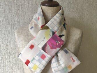 銘仙×コットン刺繍の小さな襟巻き2048C ストール ネックウォーマー プチマフラー リバーシブル 着物リメイクの画像
