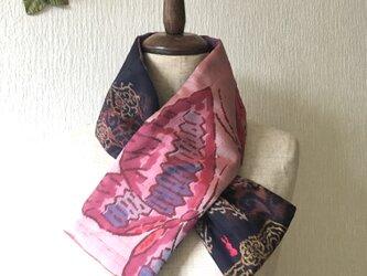 銘仙×ワンウォッシュ麻の小さな襟巻き2045C ストール ネックウォーマー プチマフラー リバーシブル 着物リメイクの画像