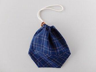 【再入荷】備後節織の巾着袋 二筋格子 切替えありの画像