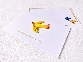 メッセージカードセット(小鳥A・5組+1枚)送料無料の画像