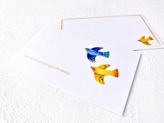 メッセージカードセット(小鳥B・5組+1枚)送料無料の画像