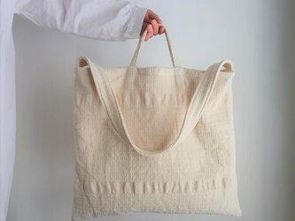 mosaic square 2way bigbag 手織り布のビッグバッグの画像