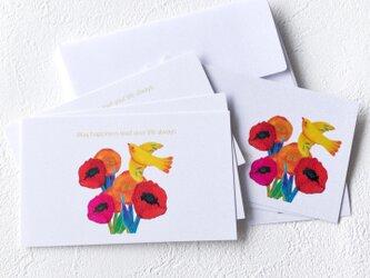 メッセージカードセット(Flowerホワイト・5組+1枚)送料無料の画像