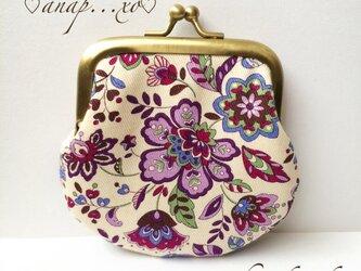 紫の花柄 リバティ ペイズリー調 がま口 コインケース 小銭入れの画像