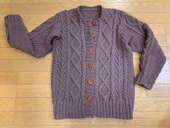 しっかり厚め-手編み☆ショコラカラーのアラン模様カーディガンの画像