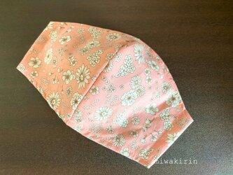 夏用♡立体布マスク♪コーラルピンクの小花柄の画像