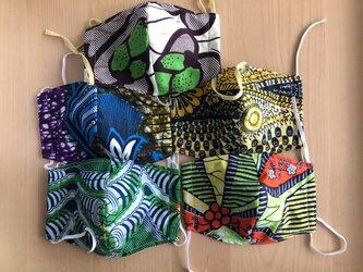 オーダー品 アフリカ布マスク5枚セットの画像