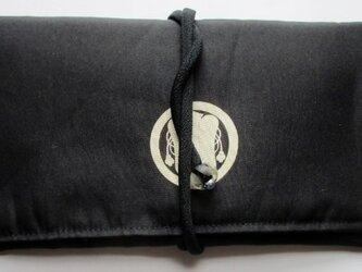 4831 家紋入りの黒羽織で作った和風財布・ポーチ #送料無料の画像