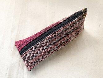 裂き織り ペンケース(ピンク×黒系)小物入れの画像