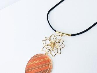 博多織フラワーネックレス(RN-2)ゴールド オレンジの画像