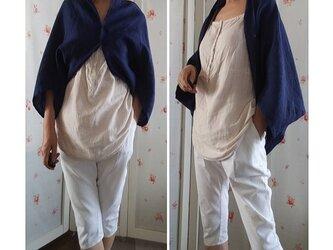 リネン100 薄手 インクブルー マーガレット ボレロ 羽織の画像