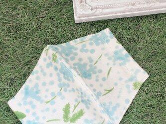 立体マスク ミモザ 花柄 水色 キッズ オトナの画像