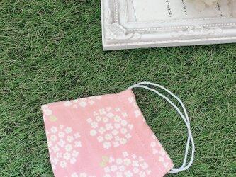 立体マスク サークルフラワー ピンク 花柄  キッズ オトナの画像