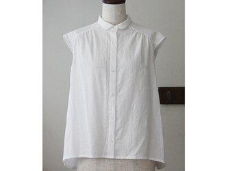 小さな衿のブラウス コットンリネン ホワイト(M)の画像