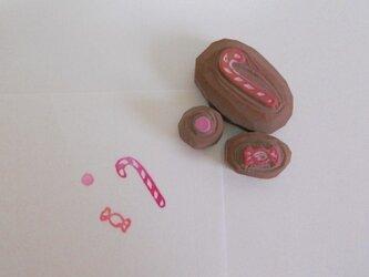 消しゴムはんこ お菓子 の画像