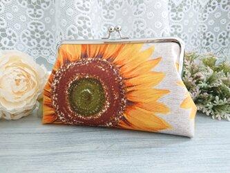 ◆大輪ひまわりのがま口ポーチ*ヒマワリ向日葵夏オレンジ花柄大胆旅行やプレゼントにの画像