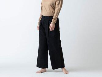 HANDROOM WOMEN'S コットンリネンヘリンボーン ワイドパンツ ブラックの画像