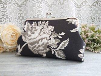 ◆【再販】モノトーンアンティークの花柄がま口ポーチ*ロココシャビーシックバラモダン旅行やプレゼントにの画像