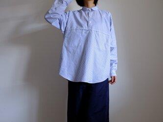 切り替えプルオーバーシャツ/ M / コットン ストライプ【 白に青 】<受注制作>の画像