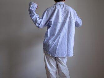 切り替えプルオーバーシャツ/ L / コットン ストライプ【 白に青 】<受注制作>の画像
