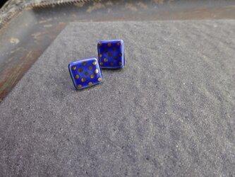 金彩dot square pierce/earring(青)の画像