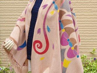 筒描柿渋染ストール*絵を纏う 紫*グレーの画像