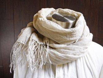 Deco de R オリジナル 上質リネン シングルガーゼのストール 亜麻色の画像