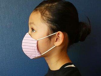 SALE キッズ 立体インナーマスク ピンク縞の画像