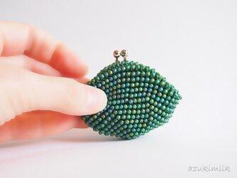 ビーズ編みがま口【深緑】の画像