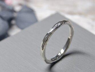 でこぼこ シルバープレーンリング 2.0mm幅 鎚目 シルバー950 SILVER RING 指輪 シンプル 241の画像