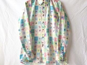 【メンズ】個性が光るカジュアルメンズシャツ(ブロックチェック:恐竜)の画像