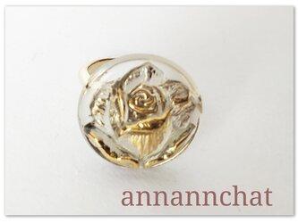 【薔薇 チェコガラス ビンテージ リング】母の日 花 バラ チェコガラスの画像