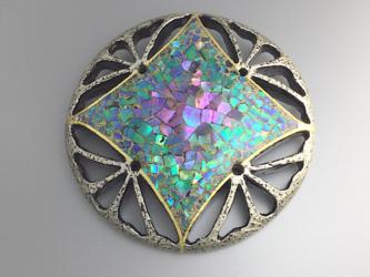 螺鈿とプラチナ箔の七宝透かしブローチの画像