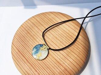 藍染めデニムのネックレス(RN-3)ブルー×金箔の画像