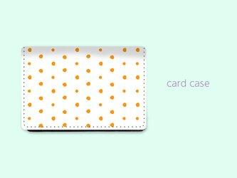 大容量 カードケース 名刺ケース 手描き ランダム ドット 水玉 1 オレンジ 【受注生産】#212-ccの画像
