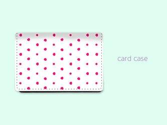 大容量 カードケース 名刺ケース 手描き ランダム ドット 水玉 2 ピンク 【受注生産】#213-ccの画像