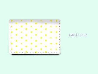大容量 カードケース 名刺ケース 手描き ランダム ドット 水玉 3 イエロー 【受注生産】#214-ccの画像