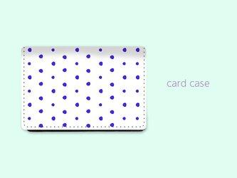 大容量 カードケース 名刺ケース 手描き ランダム ドット 水玉 4 ブルー 【受注生産】#215-ccの画像