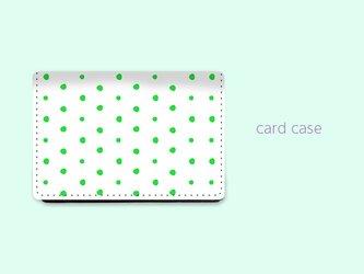 大容量 カードケース 名刺ケース 手描き ランダム ドット 水玉 5 グリーン 【受注生産】#216-ccの画像