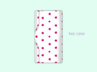 キーケース 手描き ランダム ドット 水玉 2 ピンク 【受注生産】#213-kcの画像