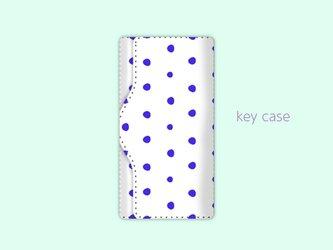 キーケース 手描き ランダム ドット 水玉 4 ブルー 【受注生産】#215-kcの画像