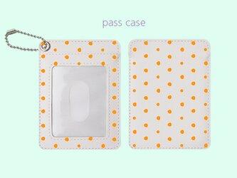パスケース 手描き ランダム ドット 水玉 1 オレンジ 【受注生産】 #212-pcの画像