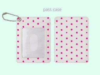 パスケース 手描き ランダム ドット 水玉 2 ピンク 【受注生産】 #213-pcの画像
