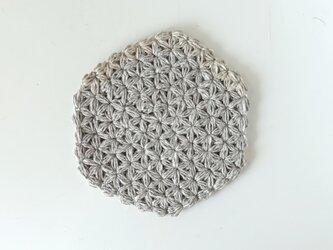 リネンの模様編みのコースターBの画像