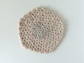 リネンの模様編みのコースターCの画像