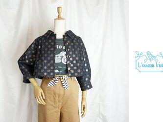 水玉デニムのショートジャケットの画像