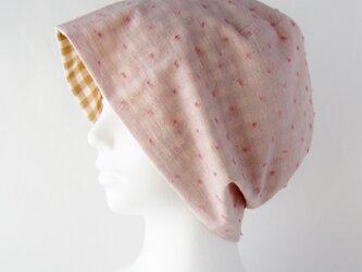 夏に涼しく下地にもなる ゆったりガーゼ帽子 水玉ピンク ライトブラウンチェック(CGR-009-PDBC)の画像