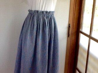 紺と白の格子 タックギャザースカートの画像